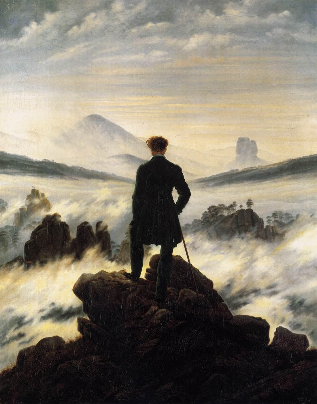 caspar-david-friedrich-il viandante sul mare di nebbia